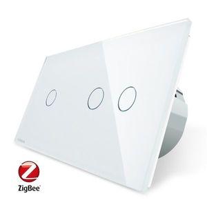 Intrerupator simplu + dublu cu touch Livolo din sticla, Protocol ZigBee, Control de pe telefonul mobil imagine