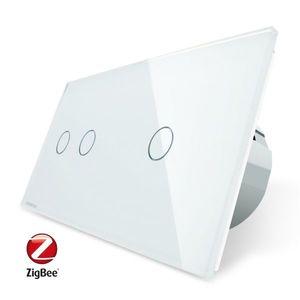 Intrerupator dublu + simplu cu touch Livolo din sticla, Protocol ZigBee, Control de pe telefon imagine