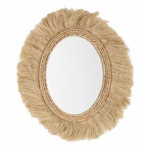 Oglinda decorativa cu rama din MDF si iuta Turkana Oval Natural, l65xH55 cm imagine