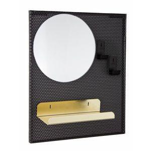 Oglinda decorativa cu etajera din metal Metric Negru, l37xH31 cm imagine