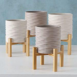 Set 2 ghivece din ceramica cu suport Iver Grej / Gri deschis, Modele Asortate, Ø22xH30 cm / Ø18xH25 cm imagine