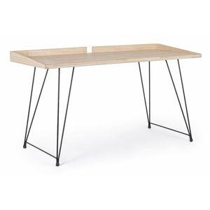 Masa de birou din lemn de cauciuc si metal District Natural / Negru, L142xl61xH78 cm imagine