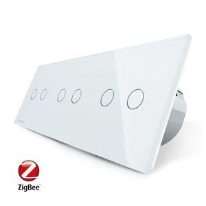 Intrerupator dublu+dublu+dublu cu touch Livolo din sticla, Protocol ZigBee, Control de pe telefon imagine