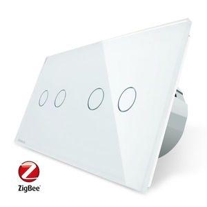 Intrerupator dublu + dublu cu touch Livolo din sticla, Protocol ZigBee, Control de pe telefon imagine