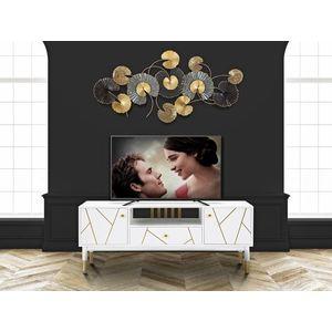 Comoda TV din MDF si metal, cu 1 sertar si 2 usi Luxy Alb / Auriu, l140xA50xH55 cm imagine