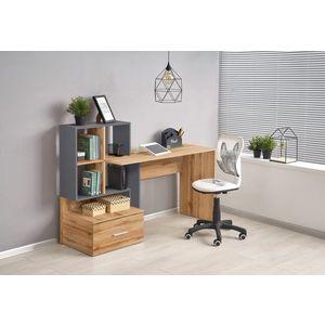 Masa de birou din pal, cu biblioteca si sertar Grosso Stejar / Antracit, L149xl50xH105 cm imagine