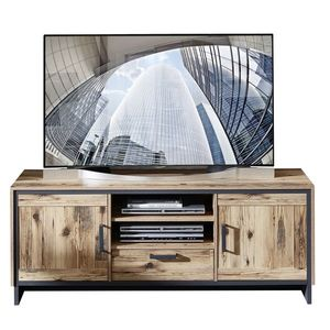 Comoda TV din pal, cu 1 sertar si 2 usi Pato Natural / Grafit, l155xA45xH61 cm imagine