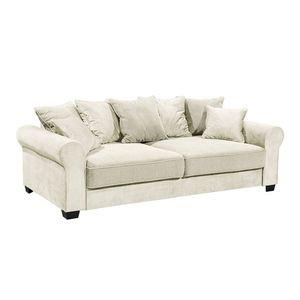 Canapea extensibila cu lada de depozitare, tapitata cu stofa, 3 locuri, Aurelis Crem, l247xA115xH95 cm imagine