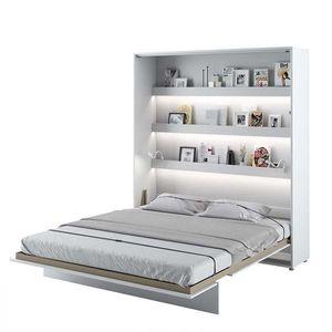 Pat rabatabil pe perete, cu mecanism pneumatic, sistem LED si somiera inclusa, Bed Concept Vertical Alb Mat, 200 x 180 cm imagine