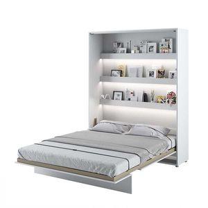 Pat rabatabil pe perete, cu mecanism pneumatic, sistem LED si somiera inclusa, Bed Concept Vertical Alb Mat, 200 x 160 cm imagine