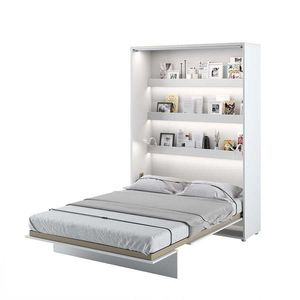Pat rabatabil pe perete, cu mecanism pneumatic, sistem LED si somiera inclusa, Bed Concept Vertical Alb Mat, 200 x 140 cm imagine