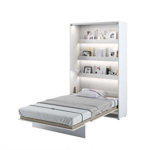 Pat rabatabil pe perete, cu mecanism pneumatic, sistem LED si somiera inclusa, Bed Concept Vertical Alb Mat, 200 x 120 cm imagine
