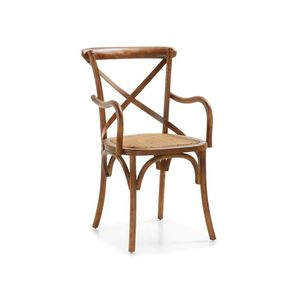 Scaun din lemn si sezut din ratan, Paris Plus Stejar, l50xA43xH90 cm imagine