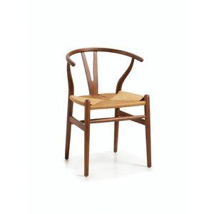 Scaun din lemn si sezut din ratan, Nimes Stejar, l57xA42xH78 cm imagine