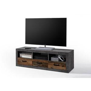 Comoda TV din pal, cu 3 sertare Inez Gri / Natur, l147xA45xH49 cm imagine