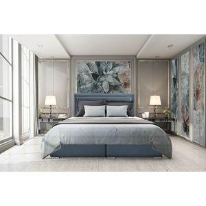 Pat rabatabil cu lada de depozitare, tapitat cu stofa Annecy Boxspring Royal Blue, topper Visco inclus, 200 x 180 cm imagine