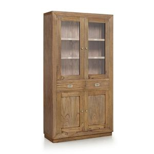 Vitrina din lemn cu 2 sertare si 4 usi, Merapi Natural, l100xA40xH190 cm imagine