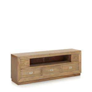 Comoda TV din lemn cu 5 sertare, Merapi Natural, l160xA40xH59 cm imagine