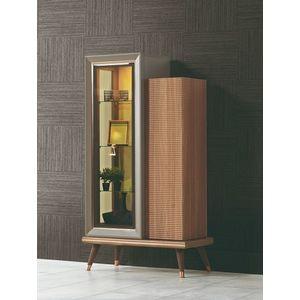 Vitrina din pal cu 2 usi Toscana Dore Gri / Natural, l85xA43xH157 cm imagine