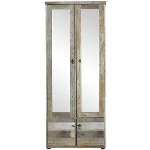 Dulap hol din pal cu oglinda si 4 usi Bazna Natur / Gri inchis, l78xA40xH188 cm imagine