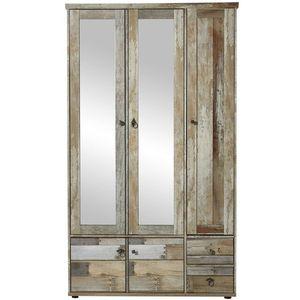Dulap hol din pal cu oglinda, 5 usi si 2 sertare Bazna Natur / Gri inchis, l109xA40xH188 cm imagine