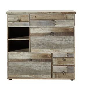 Cabinet hol din pal, cu 2 usi si 4 sertare Bazna Small Natur / Gri inchis, l99xA40xH98 cm imagine