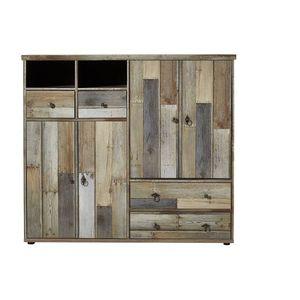 Cabinet hol din pal, cu 4 usi si 4 sertare Bazna Large Natur / Gri inchis, l130xA40xH117 cm imagine