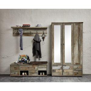 Set de mobila hol din pal, 3 piese Bazna Natur / Gri inchis imagine