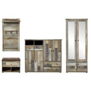Set de mobila hol din pal, 4 piese Bazna I Natur / Gri inchis imagine