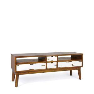 Comoda TV din lemn si furnir, cu 4 sertare, Nordic Nuc / Alb, l140xA40xH50 cm imagine