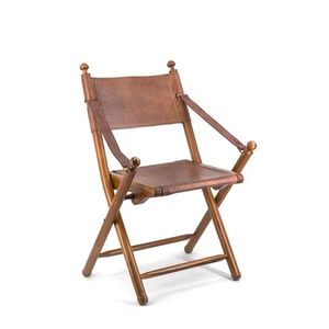 Scaun pliabil din lemn si piele, Tarlton Maro, l56xA53xH90 cm imagine