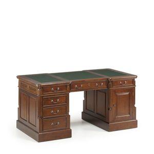 Masa de birou din lemn cu 6 sertare si 1 usa, Vintage Panter Nuc, L160xl80xH80 cm imagine
