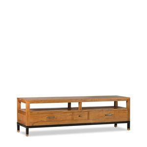 Comoda TV din lemn cu 3 sertare, Madhu Natural, l150xA40xH45 cm imagine
