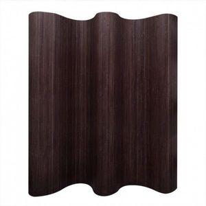 Paravan de camera din bambus, maro inchis, 250 x 195 cm imagine