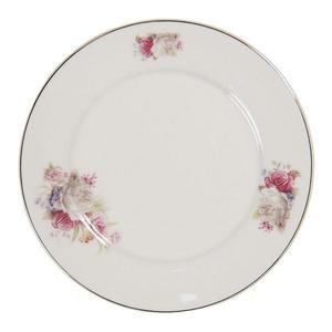 Farfurie din portelan alb cu decor floral roz Diametru 21 cm x 2 h imagine