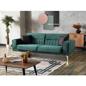 Canapea extensibila tapitata cu stofa, 3 locuri Nancy Velvet Verde inchis / Auriu, l237xA88xH87 cm imagine