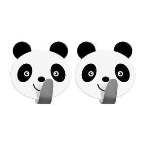 Set 2 x Carlig baie de perete autoadeviz Panda, Alb /Negru - Caerus Capital imagine
