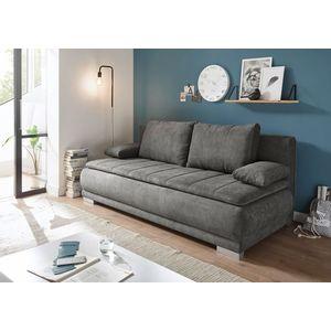 Canapea extensibila cu lada de depozitare, tapitata cu stofa, 3 locuri, Eliana Gri, l208xA105xH93 cm imagine