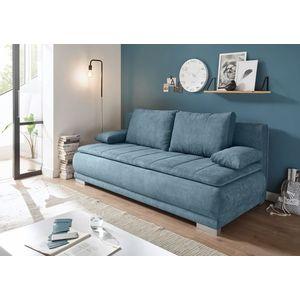 Canapea extensibila cu lada de depozitare, tapitata cu stofa, 3 locuri, Eliana Albastru, l208xA105xH93 cm imagine
