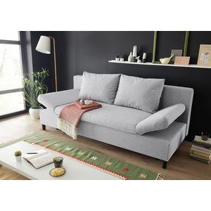 Canapea extensibila cu lada de depozitare, tapitata cu stofa, 3 locuri, Lenis Gri deschis, l200xA85xH92 cm imagine