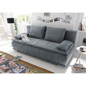 Canapea extensibila cu lada de depozitare, tapitata cu stofa, 3 locuri, Lois Antracit, l211xA103xH93 cm imagine