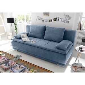 Canapea extensibila cu lada de depozitare, tapitata cu stofa, 3 locuri, Lois Albastru, l211xA103xH93 cm imagine