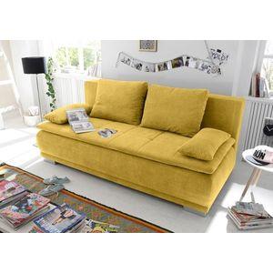 Canapea extensibila cu lada de depozitare, tapitata cu stofa, 3 locuri, Lois Mustariu, l211xA103xH93 cm imagine