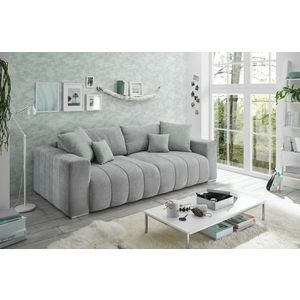 Canapea extensibila cu lada de depozitare, tapitata cu stofa, 3 locuri, Tris Gri deschis, l250xA115xH87 cm imagine