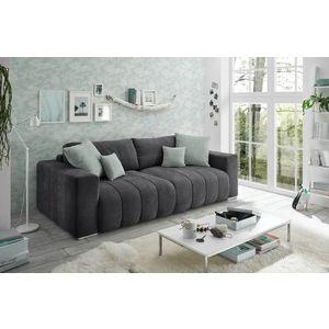 Canapea extensibila cu lada de depozitare, tapitata cu stofa, 3 locuri, Tris Grafit, l250xA115xH87 cm imagine