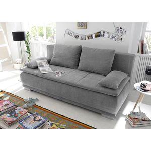 Canapea extensibila cu lada de depozitare, tapitata cu stofa, 3 locuri, Lois Gri, l211xA103xH93 cm imagine