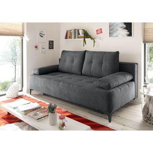 Canapea extensibila cu lada de depozitare, tapitata cu stofa, 3 locuri, Molly Antracit, l203xA107xH98 cm imagine