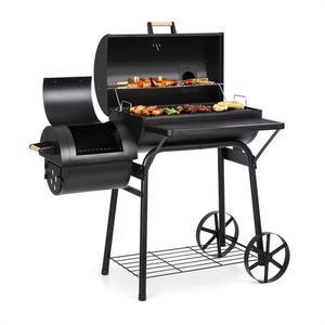 Klarstein Beef Brisket, grill cu afumătoare, termometru, roti, capac, negru imagine