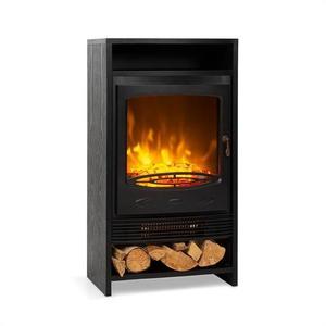 Klarstein Bergamo, șemineu electric, 900/1800 W, termostat, aspect din lemn, negru imagine