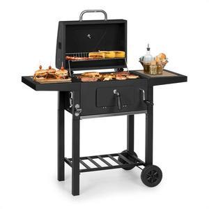 Klarstein Meat Machine, grătar pe cărbune, 45 x 32, 5 cm, termometru, roți, negru imagine